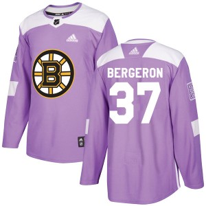 Patrice Bergeron Men's Adidas Boston Bruins Authentic Purple Fights Cancer Practice Jersey